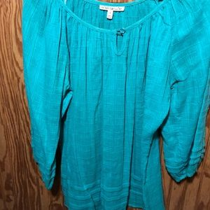 Turquoise linen top, S